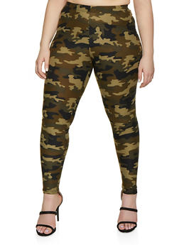 Plus Size Olive Camo Leggings - 1969001444928