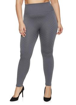 Plus Size Fleece Lined Chevron Textured Leggings - 1969001446311