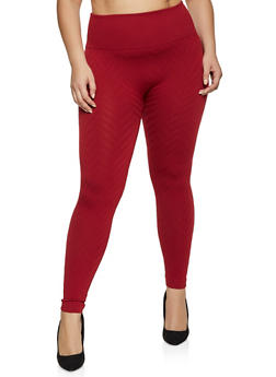 Plus Size Fleece Lined Chevron Textured Leggings - 1969001446311