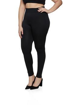 Plus Size Fleece Seamless Leggings - 1969051061106