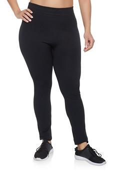 Plus Size Fleece Lined Seamless Leggings - 1969051063962