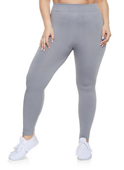 Plus Size Fleece Lined Seamless Leggings - 1969051063962