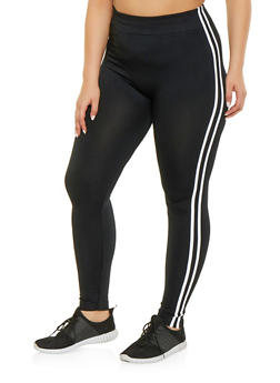 Plus Size Varsity Stripe Leggings - 1969051064122