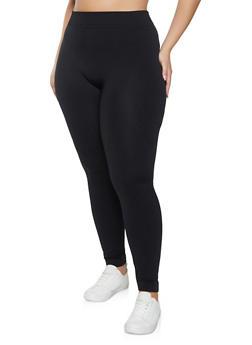 Plus Size Solid Fleece Lined Leggings - 1969051069396
