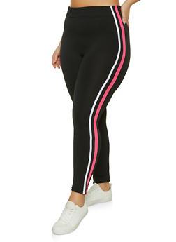 Plus Size Varsity Stripe Fleece Lined Leggings - 1969051069439