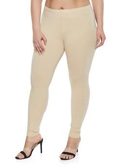 Plus Size Solid Leggings - 1969054260001