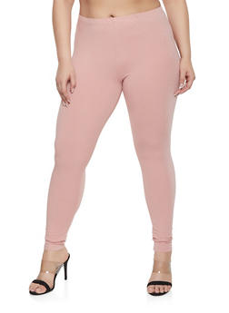 Plus Size Solid Leggings - 1969054260001