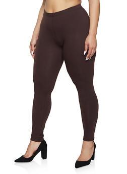 Plus Size Solid Leggings   1969054261161 - 1969054261161
