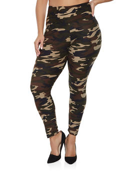 Plus Size Camo Soft Knit Leggings - 1969060582374