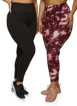 Plus Size Pack of 2 Solid and Tie Dye Leggings - 1969060583814