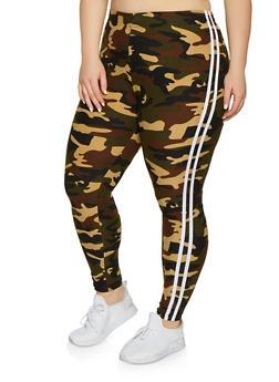Plus Size Varsity Stripe Camo Leggings - 1969061630059