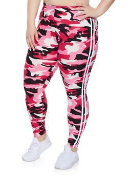 Plus Size Varsity Stripe Camo Leggings - 1969061630059