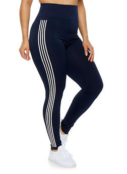 Plus Size Striped Athletic Leggings - 1969061630249