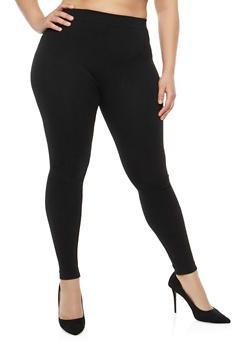 Plus Size Terry Lined Leggings - 1969061630289