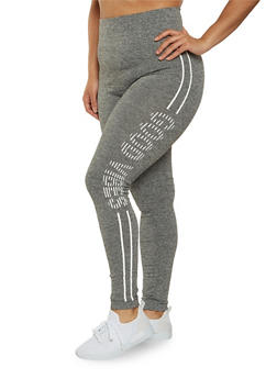 Plus Size Good Vibes Graphic Leggings - 1969061630469