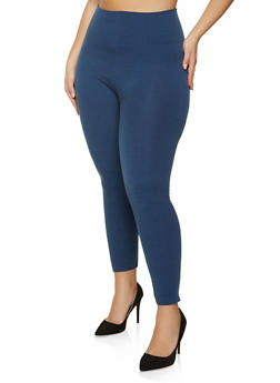 Plus Size Solid French Terry Leggings - 1969061630819