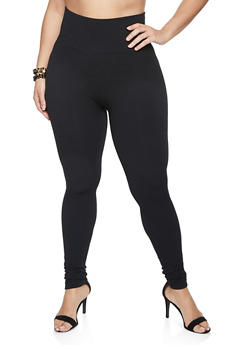 Plus Size Wide Waistband Leggings - 1969061630891