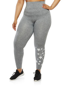 Plus Size Star Graphic Leggings - 1969061632029