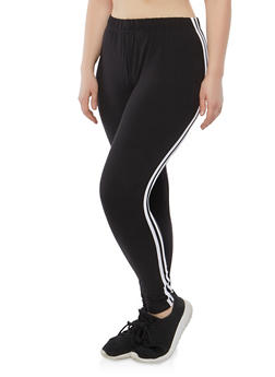 Plus Size Double Side Stripe Leggings - 1969061632049