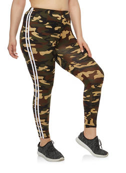 Plus Size Camo Stripe Side Leggings - 1969061632059