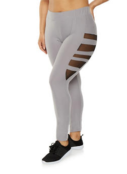 Plus Size Soft Knit Mesh Insert Leggings - 1969061632089