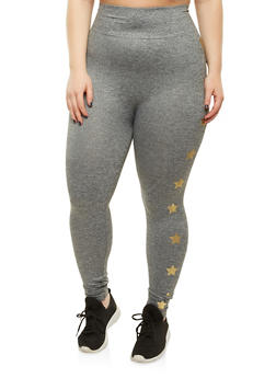 Plus Size Star Graphic Leggings - 1969061632245