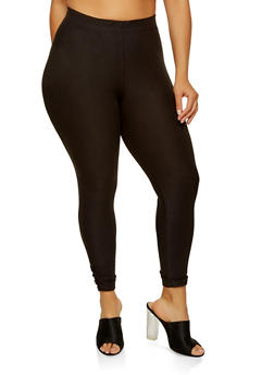 Plus Size Soft Knit Ruched Leggings - 1969061632729
