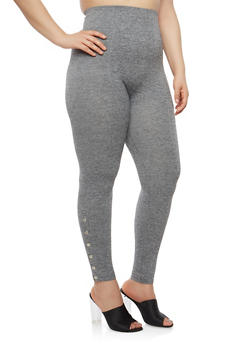 Plus Size Snap Bottom Leggings - 1969061632779