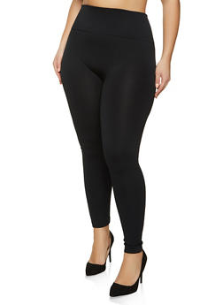 Plus Size Fleece Lined Solid Leggings - 1969061632791