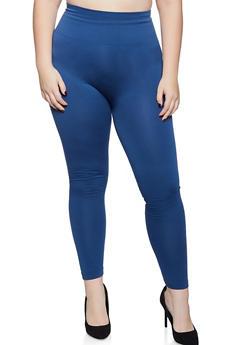 Plus Size Fleece Lined Solid Leggings - 1969061632791