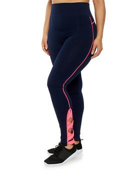 Plus Size Stitch Caged Leggings - 1969061632829