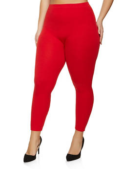 Plus Size French Terry Lined Leggings - 1969061632891