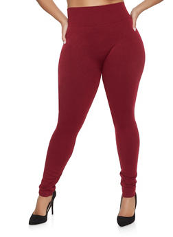 Plus Size French Terry Lined Leggings - 1969061633089