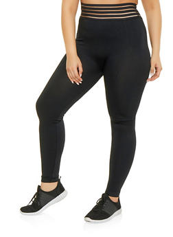 Plus Size Shadow Stripe Waistband Leggings - 1969061633279
