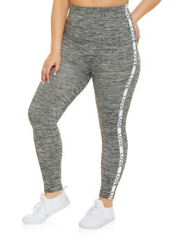 Plus Size Love Graphic Pintuck Leggings - 1969061633290
