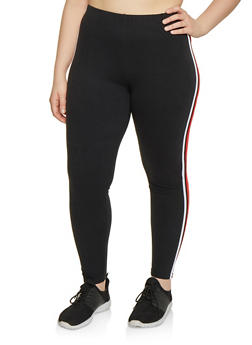 Plus Size Two Tone Varsity Stripe Leggings - 1969061633579