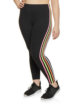 Plus Size Neon Striped Leggings - 1969061633589