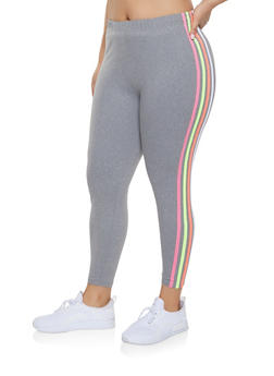 Plus Size Neon Striped Leggings - 1969061633589