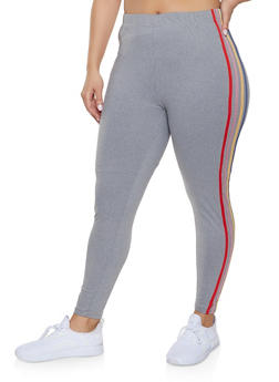 Plus Size Multi Side Stripe Leggings - 1969061633599