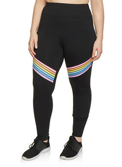 Plus Size Rainbow Stripe Leggings - 1969061633629