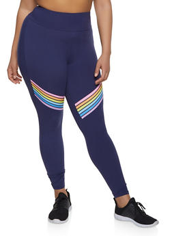 Plus Size Rainbow Stripe Leggings - Blue - Size 1X - 1969061633629