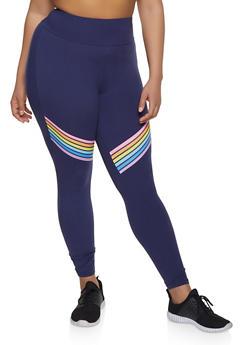 Plus Size Rainbow Stripe Leggings - 1969061633629