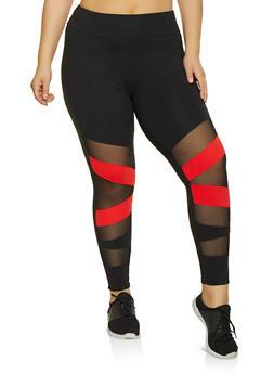 Plus Size Mesh Insert Active Pants - 1969061633649