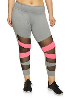 Plus Size Mesh Insert Active Pants - Grey - Size 2X - 1969061633649