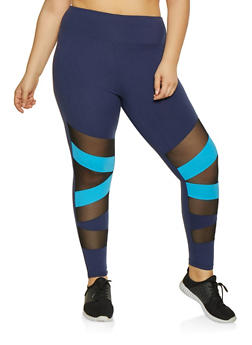 Plus Size Mesh Insert Active Pants - 1969061633649