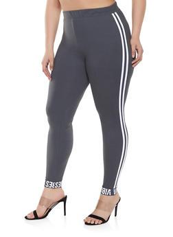 Plus Size Vibes Graphic Cuff Leggings - 1969061633778