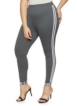 Plus Size Queen Graphic Varsity Stripe Leggings - 1969061633779