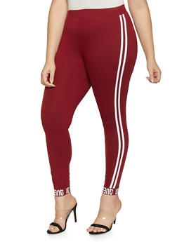 Plus Size Queen Graphic Varsity Stripe Leggings - 1969061633779