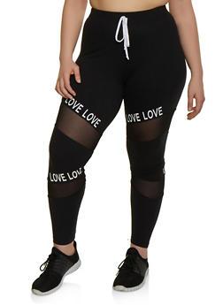Plus Size Mesh Insert Love Activewear Pants - 1969061633909