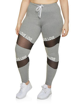 Plus Size Mesh Insert Love Activewear Pants - 1969061633909